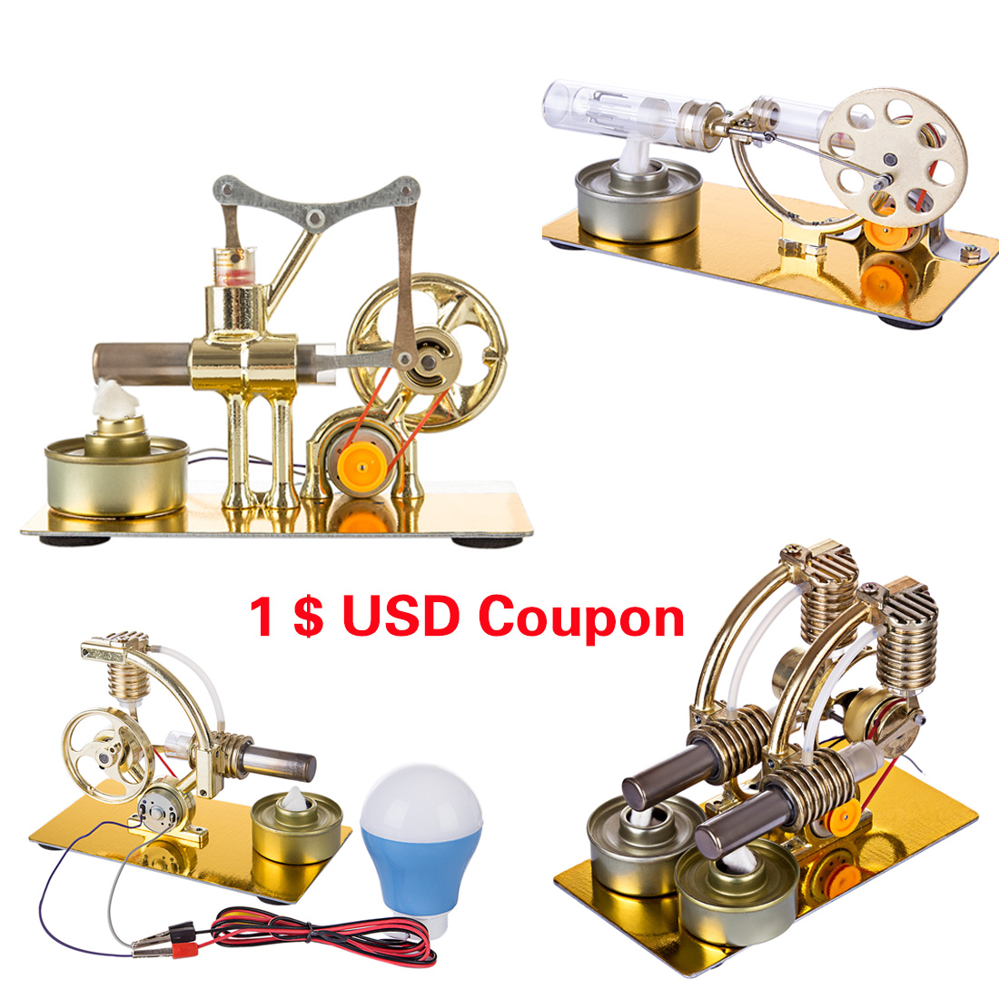 Surwish 2019 New Teenager Physics Lab Single Cylinder Balance Stirling Engine Model Science Experiment Metal Base Kit Education