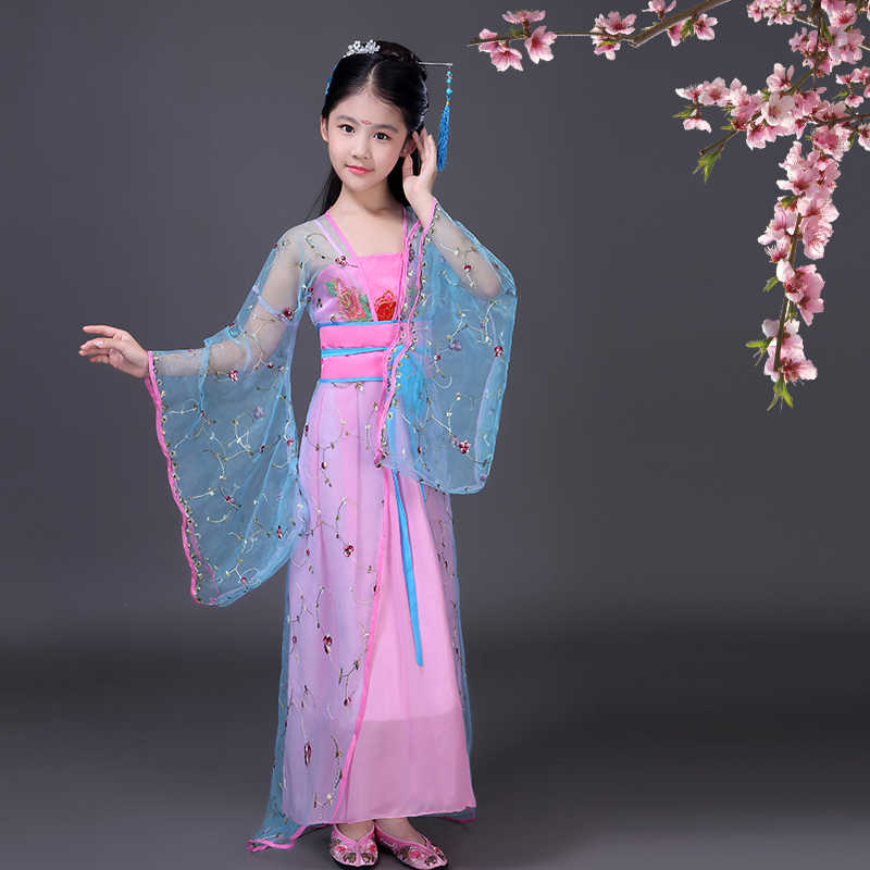 104aa61082ad ... traditional chinese folk dance Ancient Clothing Fairy dance costumes  hanfu dress tang dynasty costume girls children