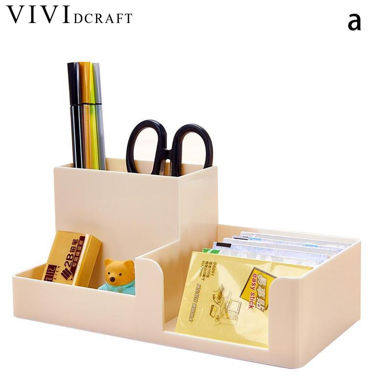 Vividcraft Multifunctional Pen Pencil Holder Candy Color Pen Container Desk Organizer Stand Plastic Pen Stationery Storage Box cute cat pen holders multifunctional storage wooden cosmetic storage box memo box penholder gift office organizer school supplie