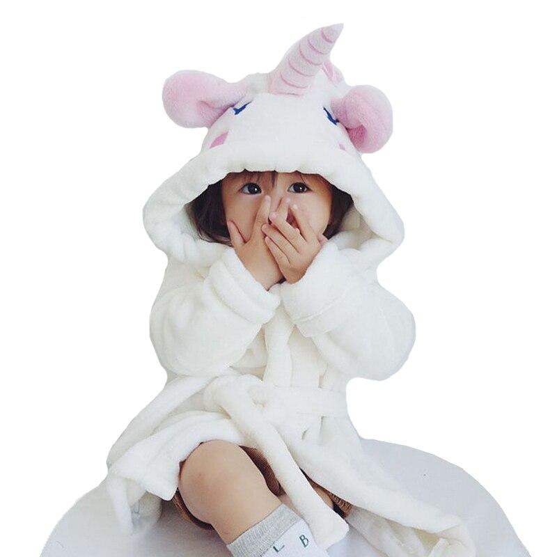 DemüTigen Kinder Bademäntel Einhorn Stil Acht Terry Bademantel Für Mädchen Flanell Cartoon Tier Roben Dressing Kleid Kinder Hause Kleidung Gute QualitäT