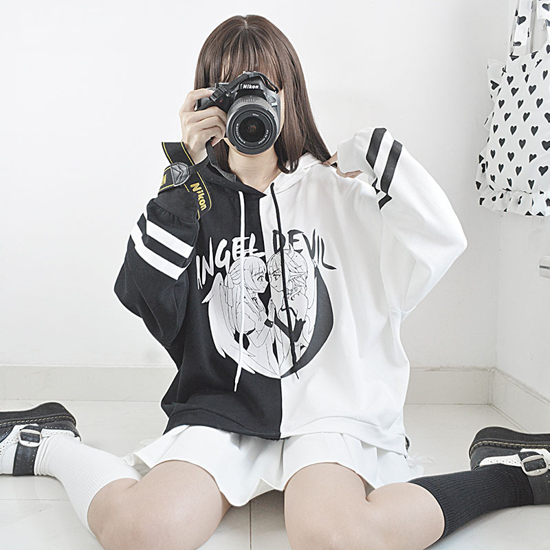 Cute Angel and Devil Pattern Women's Hooded Sweatshirts Japanese Punk Style Loose Black White Patchwork Autumn Winter Coat 2018