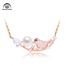 MADALENA SARARA S925 AAA Freshwater Pearl Inlaid  Pendant Sterling Silver Chain Necklace AAAA Zircon Happiness BirdStyle
