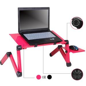 Image 1 - Регулируемый портативный эргономичный складной компьютерный стол из сплава, складной настольный поднос с ковриком для мыши для коммерческих целей