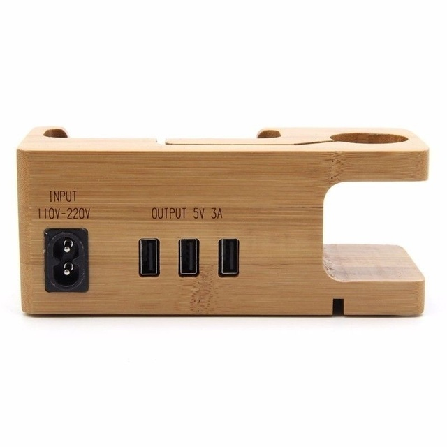 Wooden Mobile Phone Holder with USB Charging Bracket