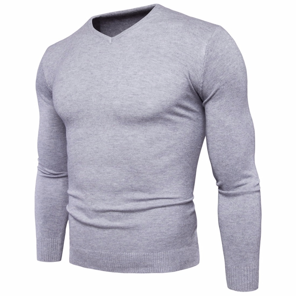 New Men Sweater V Neck Fashion Solid Color Autumn Winter Long Sleeved Sweater