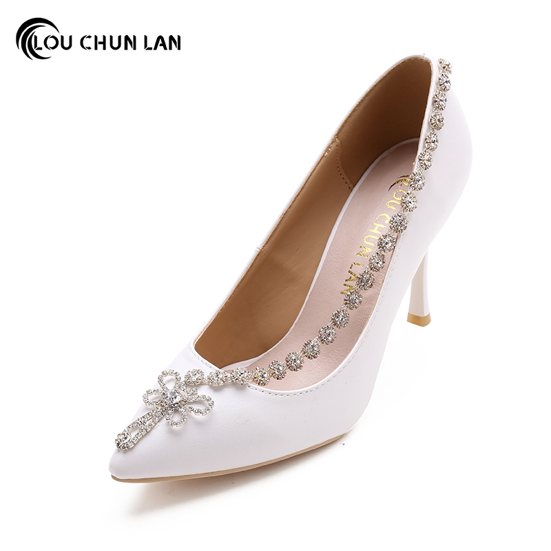 Shoes Women's Shoes Pumps Wedding Shoes White Bridal Shoes High Heels Pointed Toe Autumn dress Shoes Fashion large size 40-47 siketu 2017 free shipping spring and autumn women shoes fashion sex high heels shoes red wedding shoes pumps g107