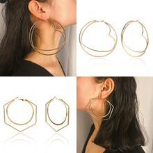 купить Sexy Round Heart Ear Ring Geometric Earrings Fashion Hollow Punk Simple Gold Big Exaggerated Wlid Earrings For Women Gifts дешево