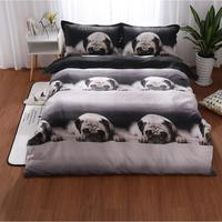3pcs/set 3D Cute Animal Dog Pug Print Bedclothes Delicate Soft Bedding Set