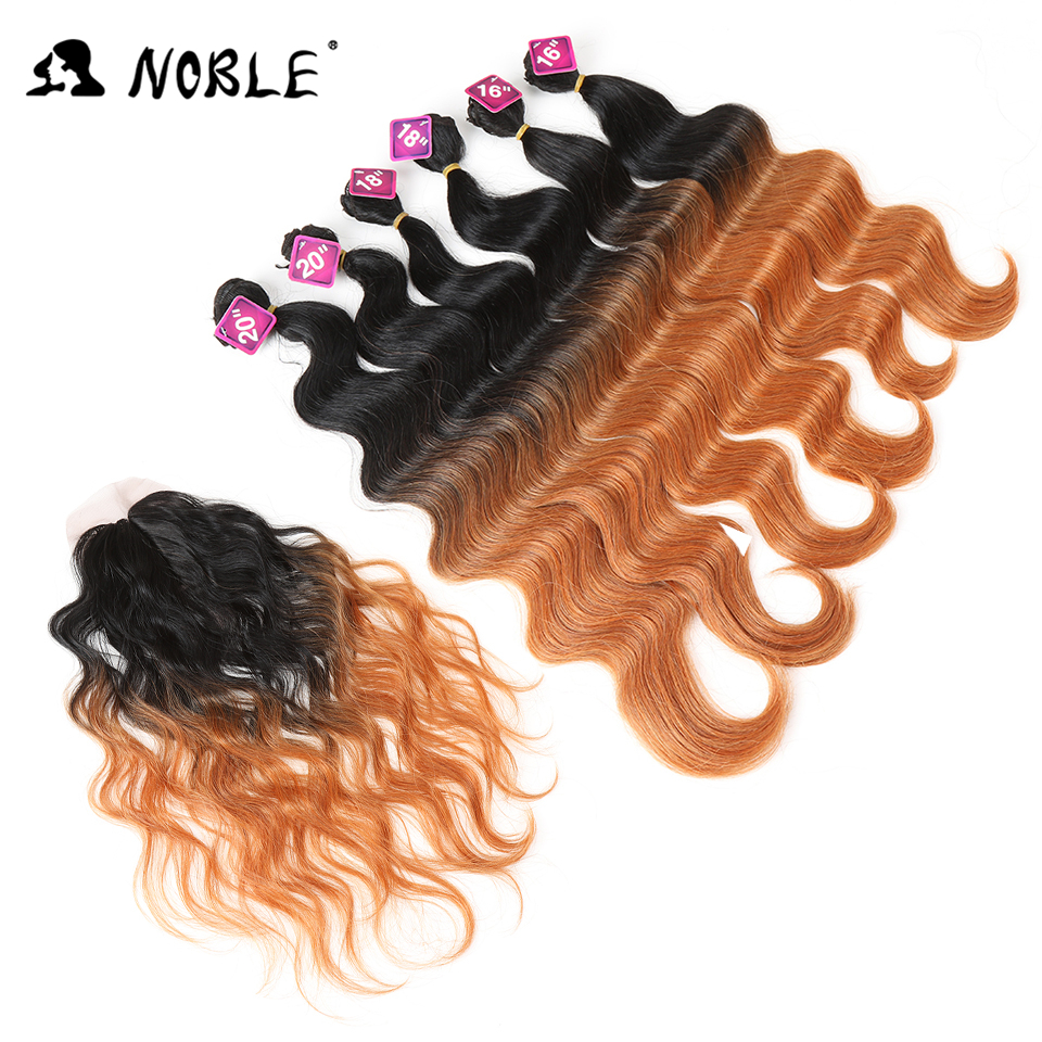 Noble Synthetic Hair 16-20 Inch 7Pieces Black Blonde Weaving Body Wave Hair 6 Bundles With Closure Hair Weave With Closure