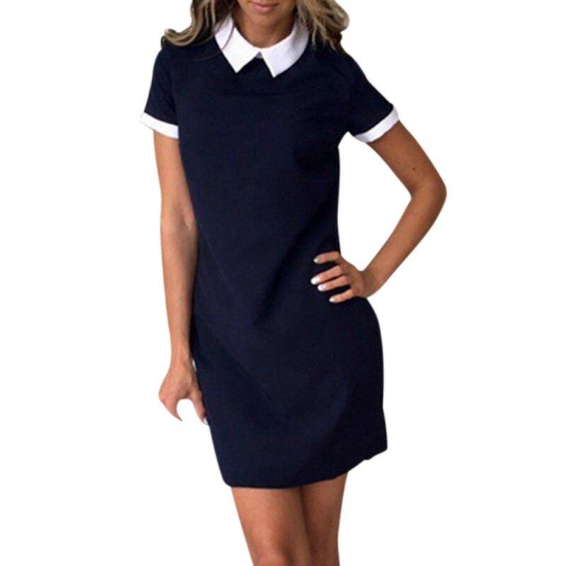 2018 New Summer Casual Solid Short Sleeve Dress Turn-Down Collar Dresses Fashion Women Party Mini Dress