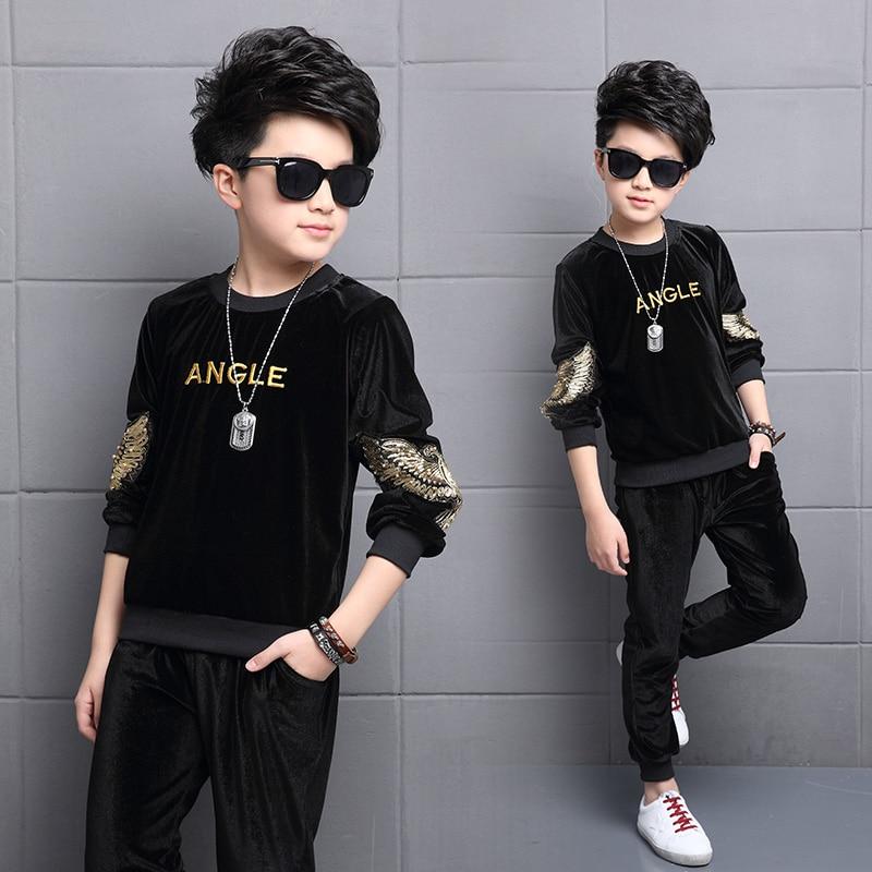 FYH Kids Clothes Boys Spring Autumn Gold Velvet Sports Suit Boys Girls Set Children Tracksuit Clothes Set 2pcs Sweatshirt+Pants