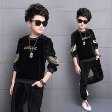 Kids Clothes Boys Spring Autumn Gold Velvet Sports Suit Boys Girls Set Children Clothes Set 2pcs Sweatshirt+Pants