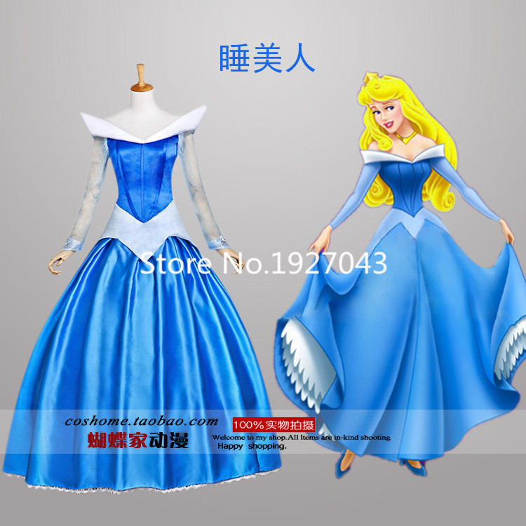 Free Shipping New brand Custom made Halloween pink blue S-XL Adult sleeping beauty princess aurora costume cosplay fancy dress