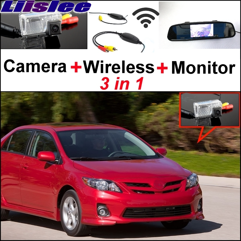 Liislee 3 in1 Special Rear View Camera + Wireless Receiver + Mirror Monitor Easy DIY Back Up Parking System For TOYOTA Corolla wireless receiver mirror monitor diy back up parking system for toyota sportsvan 3 in1 special rear view camera