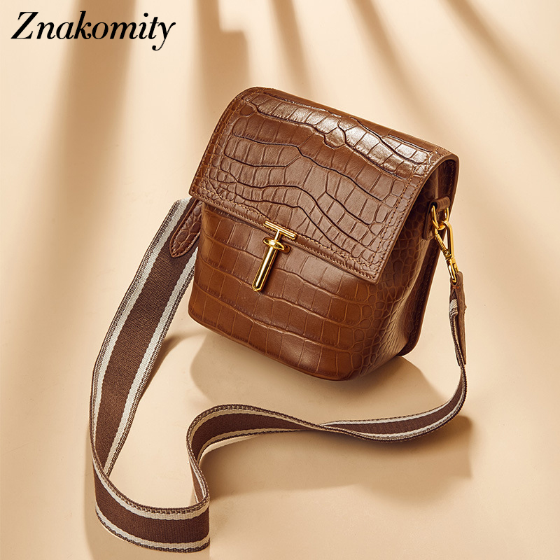 Znakomity Women Genuine Leather Shoulder Bags Alligator Pattern Bucket Bags Crossbody Solid Color Messenger Bags for Ladies 2019Znakomity Women Genuine Leather Shoulder Bags Alligator Pattern Bucket Bags Crossbody Solid Color Messenger Bags for Ladies 2019