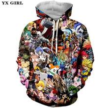 цена на YX Girl Men/Women Cartoon Anime Hoodies 3d Sweatshirt With Hat Pocket Unisex Anime Character 3d Printed Hoodie Casual Pullover