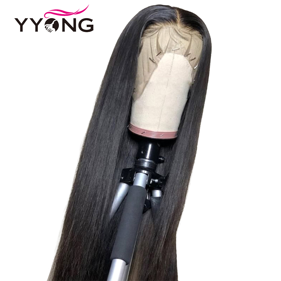 Yyong 12x3 Straight Lace Front Human Hair Wigs For Black Women Pre Plucked Hairline With Baby