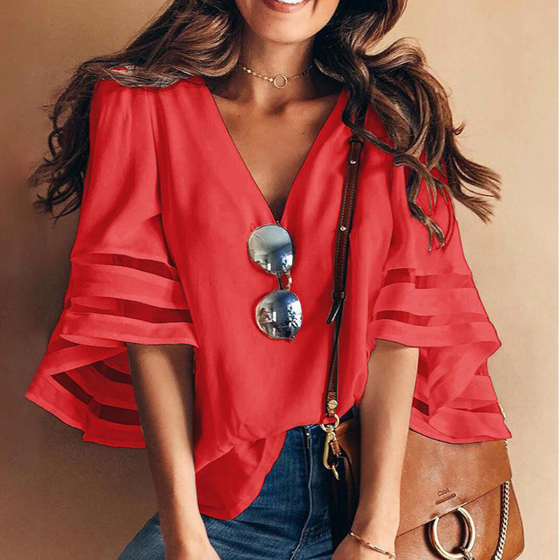 Jocoo Jolee Women Mesh Flared Sleeves V Neck Patchwork Blouses Summer Chiffon Shirt Casual Loose Blouse Female Tops Plus Size