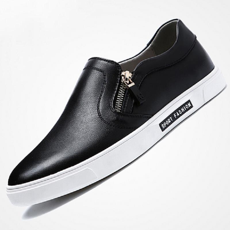 Cuero Heinrich Zapatos Casual Hombre Transpirable De Cómodos Mocasín Negro Para Lujo Hombres Marca qw1grwnt