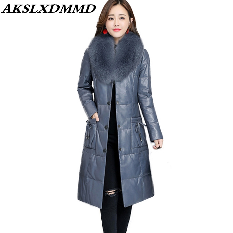 2019 New Women Winter Faux   Leather   Coat Fur Collar Outerwear Thicken Warm Long Coats Fashion Slim Large Size Cotton Coat CW022