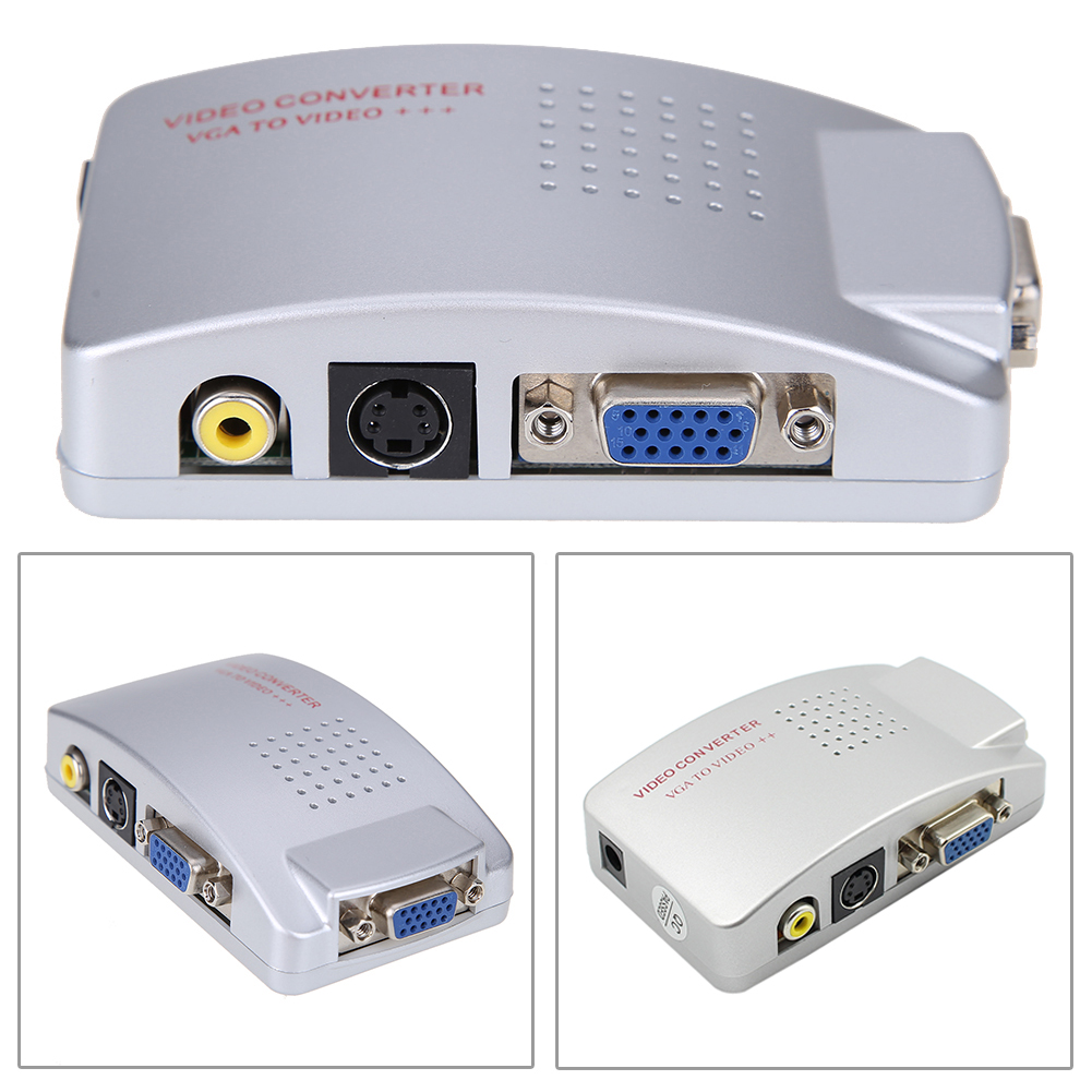 PC Laptop Composite Video TV RCA Composite S-Video AV In To PC VGA LCD Out Converter Adapter Switch Box цена