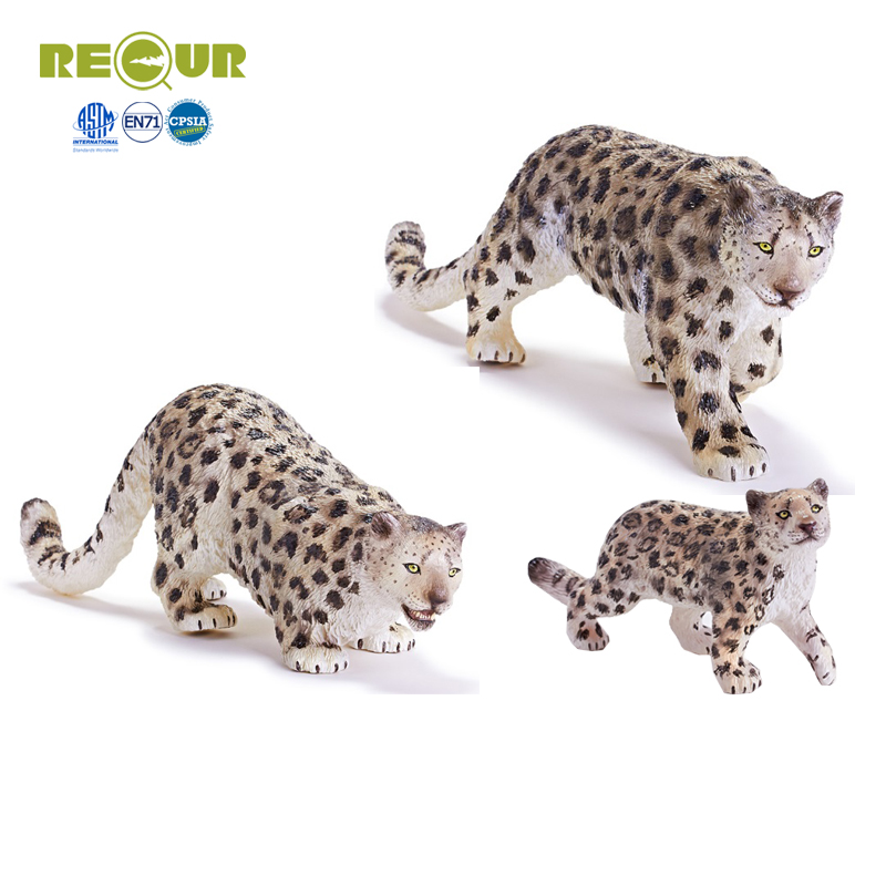 Recur Snow leopard Toys wild Animal Model PVC Toy Hand Painted Action Figure Soft Toys For Children and collectors the snow leopard
