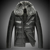 Sheep Leather Motorcycle Real Leather Men Down Jacket Fox Fur Collar Short Slim Plus Size Leather