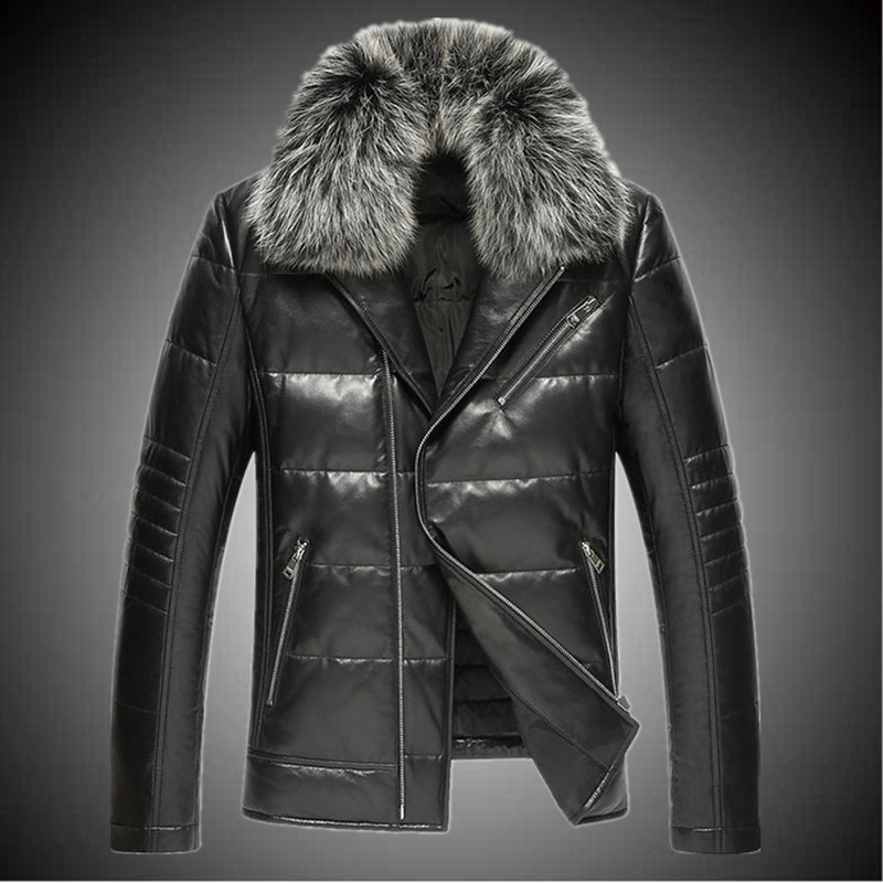 a6ab86e57eb2 Товар Sheep leather motorcycle real leather men down jacket fox fur ...