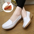 Hot Sale Spring Casual Large Size Leather Flat Shoe Mom Shoes Nurse Shoes White Non-Slip Work Comfortable Pregnant Women Shoes