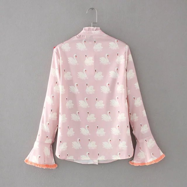 a168d6c485bc89 2017 Spring long flare sleeve stand collar swan print shirts women pink  ruffles shirts Vintage tassel shirts women fringe blouse-in Blouses & Shirts  from ...