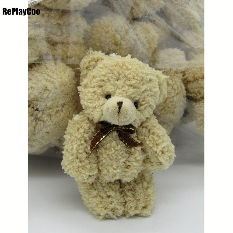 40PCS/LOT Kawaii Small Joint Teddy Bears Stuffed Plush Whit Chain 12CM Toy Teddy-Bear Mini Bear Ted Bears Plush Toys Wedding 019