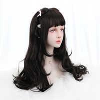 Freies Schönheit 24 Lange Wellenförmige Synthetische Natürliche Schwarz Haar Perücken mit Stumpfen Pony für Frauen Lolita Bohemian Cosplay Kostüm party
