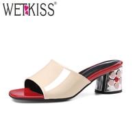 WETKISS 2018 Ladies Slippers Genuine Leather Flower Heels Mules Women Dress Shoes Woman Open Toe Summer