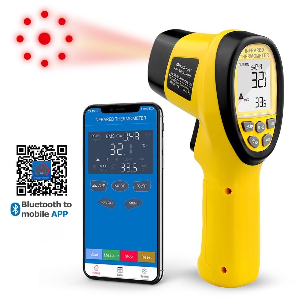 HoldPeak HP-985C-APP IR Infrared Thermometer Handhold -50-800C/-58-1472'F Temperature Meter Gun IR Thermometer W/Bluetooth APP