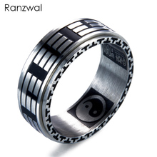 Ranzwal Retro Stainless Steel Finger Rings for Men Women Eight Trigrams Tai Ji Signet Ring Men Jewelry US SIZE 7~12 MRI027
