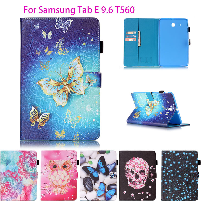 Fashion Butterfly Pattern PU Leather Case For Samsung Galaxy Tab E 9.6 T560 SM-T560 T561 Cover Tablet Funda Stand Holder Shell luxury pu leather silicon case for samsung galaxy tab 3 8 0 sm t310 t311 t315 case cover funda fashion tablet flip stand shell