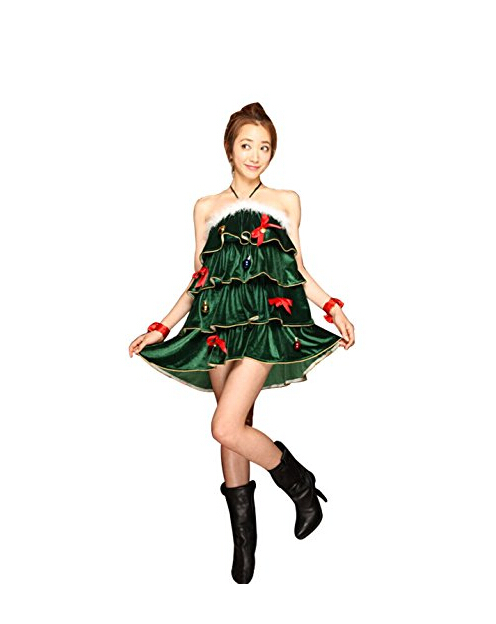 Women's Sleeveless Halter Christmas Tree Dress Sexy Christmas Tree Costumes Christmas Costume