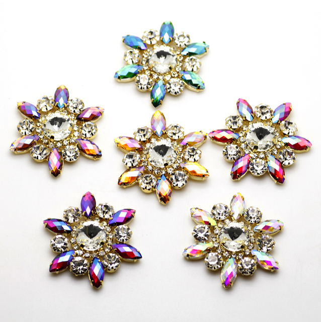 1pcs 50mm Colorful AB Flower Shape Sew On Rhinestone With Claw Setting Gold Back  Fancy Stone 1d44e5700014