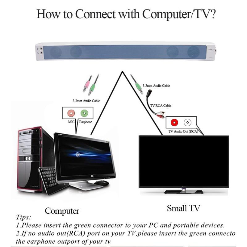 LONPOO Portable Speaker USB Surround TV Soundbar Subwoofer Home ...