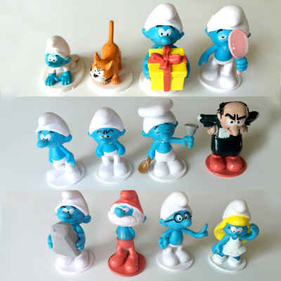 12pcs /lot Village the Elves Papa toy Smurfette Clumsy Figures Elves Papa Action Figure doll Kids Toy gift for children 48pcs lot action figures toy stikeez sucker kids silicon toys minifigures capsule children gift
