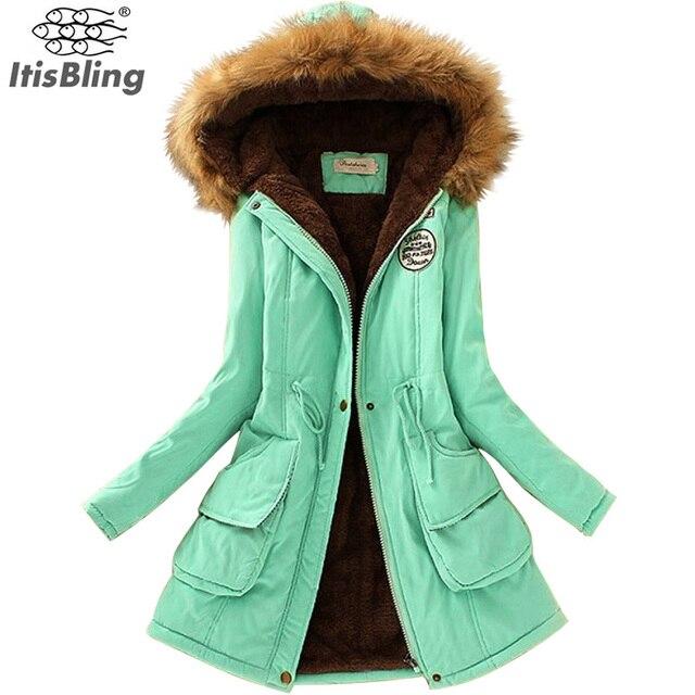 Куртка Женская Мода Осень Теплая Зима Меховой Воротник Зимние Куртки для Женщин Длинные Парки Плюс Размер Толстовки Lady Clothing