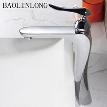 BAOLINLONG News Styling Brass Basin Deck Mount Bathroom Faucets Vanity Vessel Sinks Mixer Tap