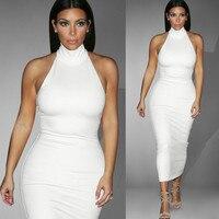 2018 Kim Kardashian Halter Sleeveless Sexy Solid Midi Dress White Cotton Casual OL Elegant Slim Pencil Dress Plus Size S 3XL