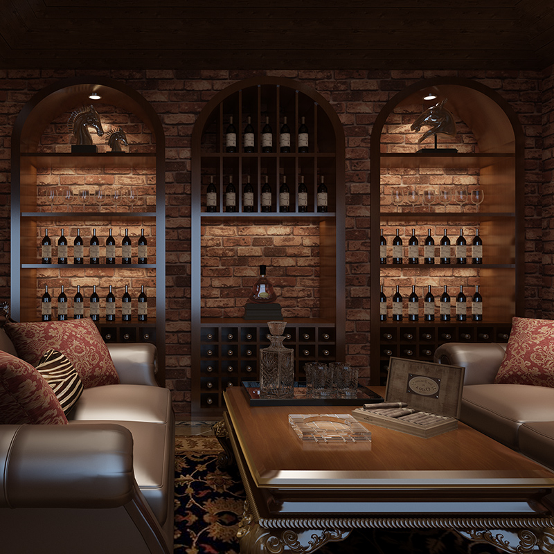 Bar Wallpaper: Chinese Style 3D Stereo Wallpaper Brick Grain Nostalgic TV