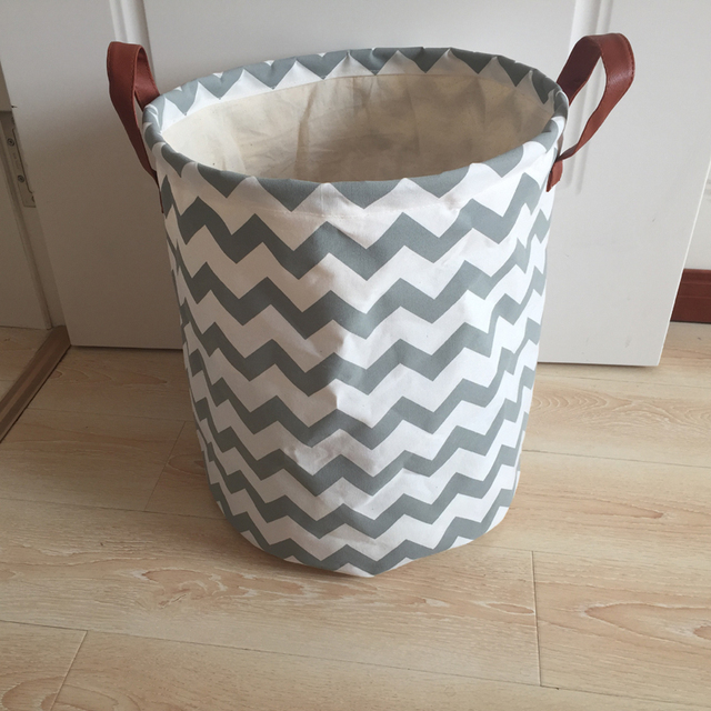 256e1bc96b0 fashion design canvas laundry basket with PU handles grey wave design  children storage basket with lining inside