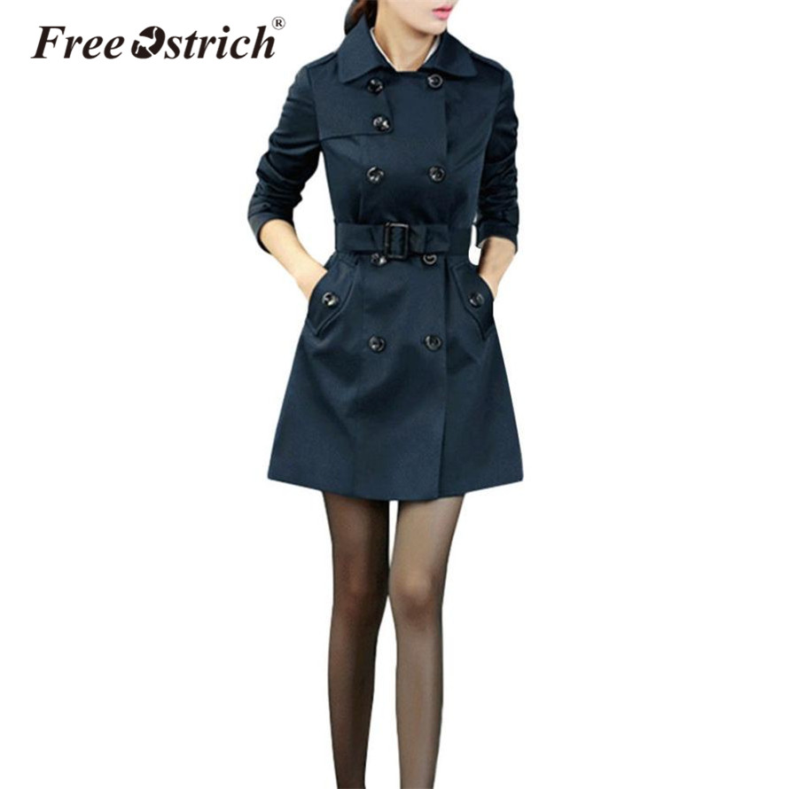 Free Ostrich   Trench   Coat Women 2018 Double Breasted Mid-long Belt Cloak Polerones Mujer Windbreaker Female Abrigo S25