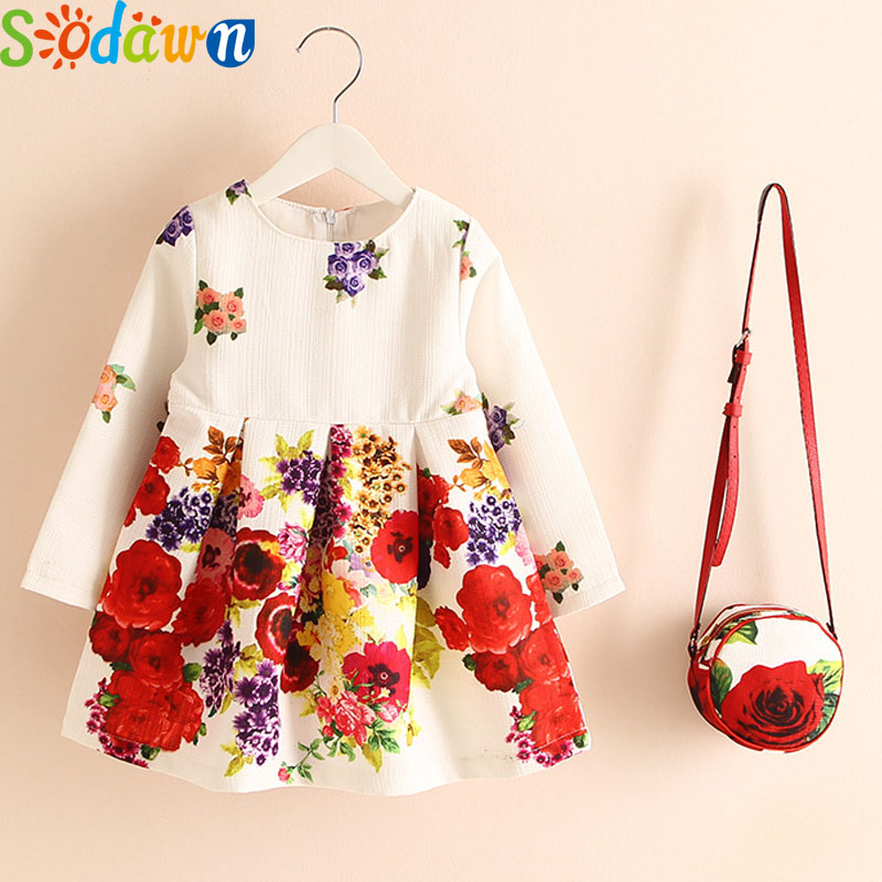 Sodawn 2017 Children Clothes Girls Dress Europe And United States Brand Autumn New Cotton Linen+Bag Flowers Grils Clothes princess girls long sleeved children s evening autumn new europe and the united states dress kids clothing red silk