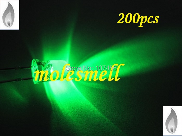 free shipping 200 x 5mm green Candle Light Flicker Ultra Bright Flickering green LED candle green Leds