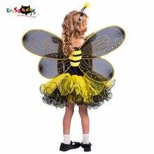 Eraspooky Geel Bumble Bee Jurk Vleugels Halloween Kostuum Voor Kinderen Meisjes Liefde Live Cosplay Christmas Party Fancy Dress