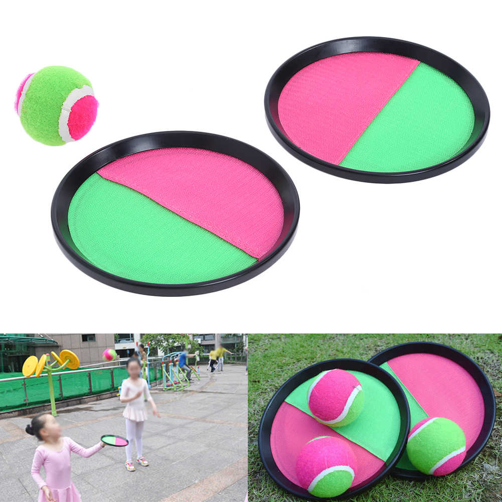 Fun Kids Toy Outdoor Sports Sucker Sticky Ball Toy Set Parent-Child Interactive Toys 18.5cm Racket Racquet Ball Game Toy